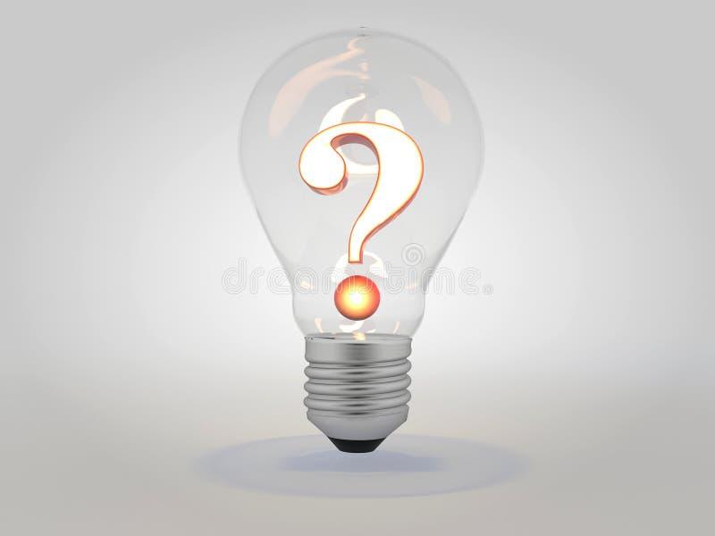Ponto de interrogação com ilustração iluminada do conceito 3D da ideia da ampola ilustração do vetor