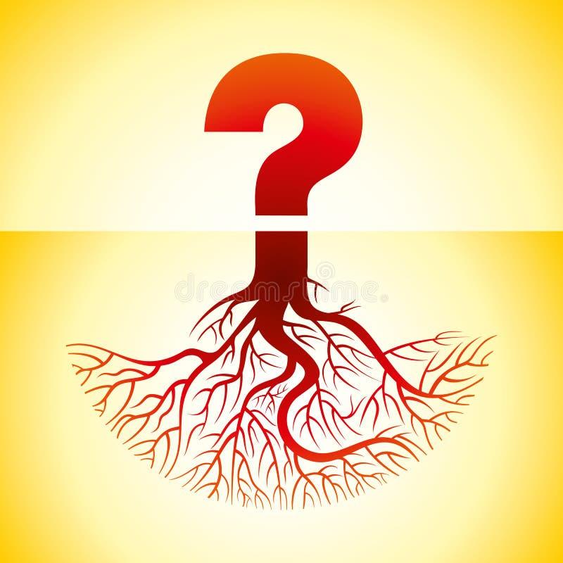 Ponto de interrogação com raizes, ilustração ilustração do vetor