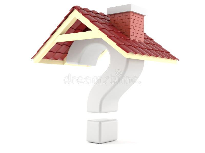 Ponto de interrogação com telhado ilustração stock
