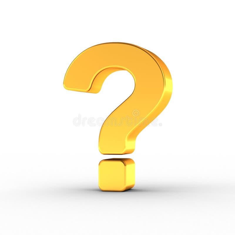 Ponto de interrogação como um objeto dourado lustrado com trajeto de grampeamento ilustração do vetor