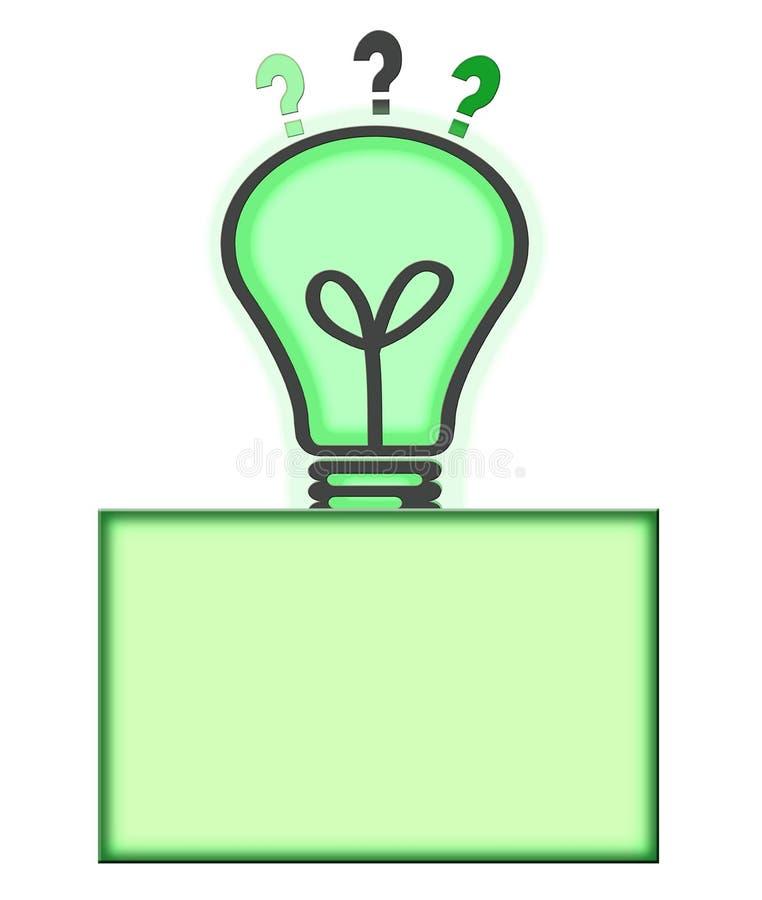 Ponto de interrogação da ampola do conceito da solução e da ideia ilustração stock