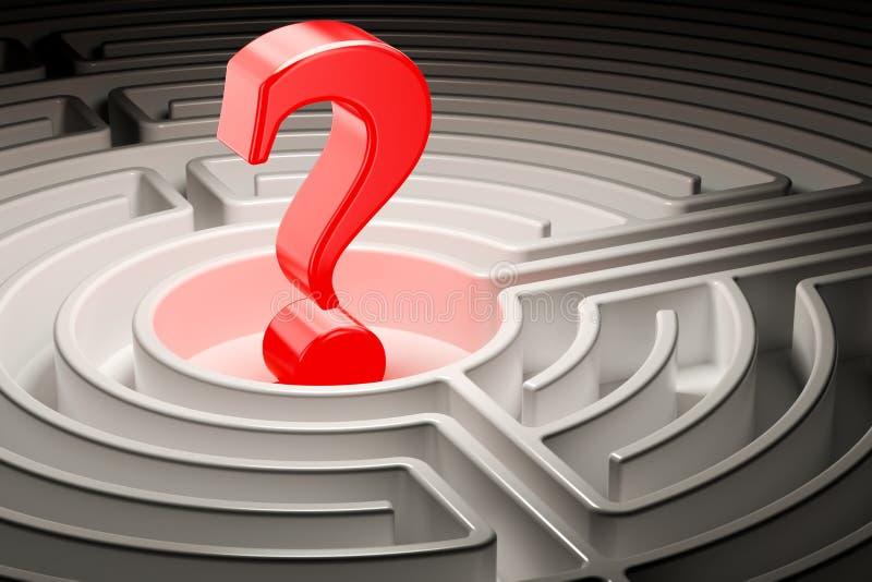 Ponto de interrogação dentro do labirinto do labirinto, 3D ilustração stock