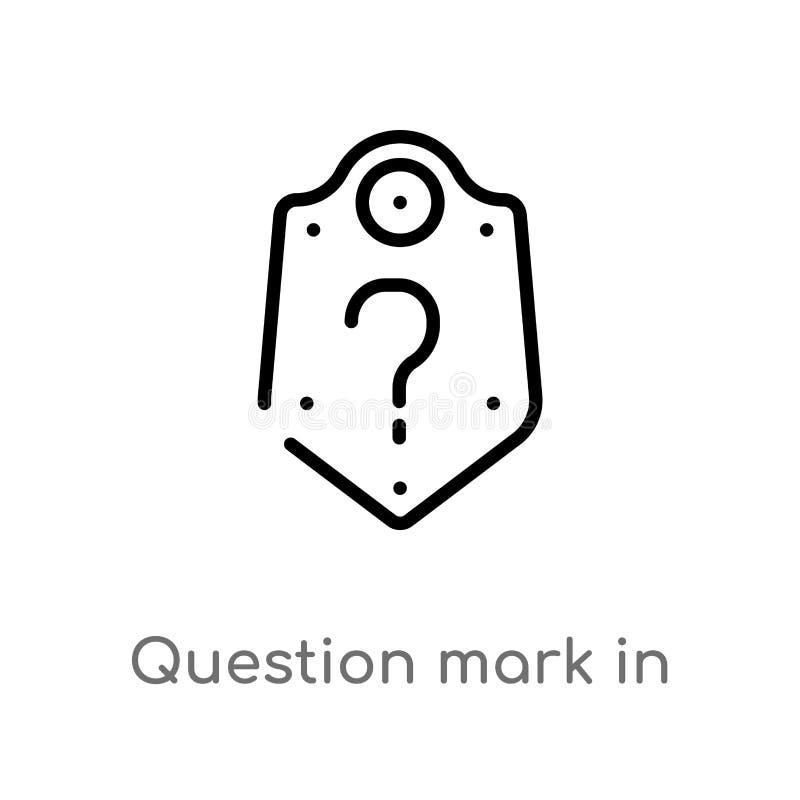 ponto de interrogação do esboço em um ícone do vetor do protetor linha simples preta isolada ilustração do elemento do conceito d ilustração stock