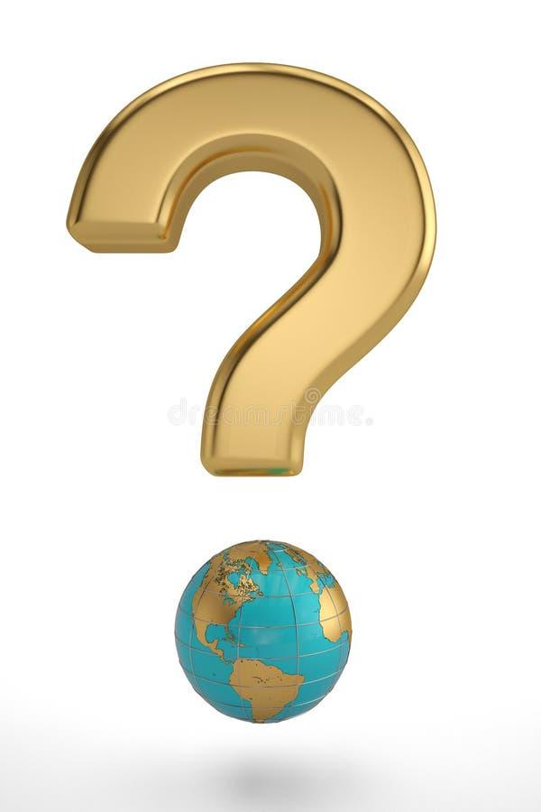 Ponto de interrogação do globo no fundo branco ilustração 3D ilustração do vetor
