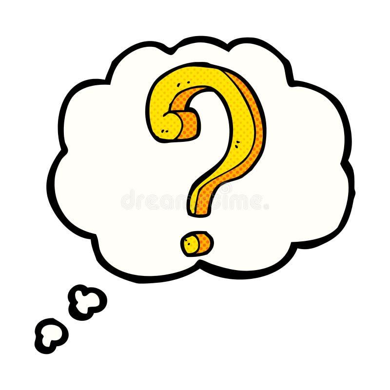 ponto de interrogação dos desenhos animados com bolha do pensamento ilustração stock