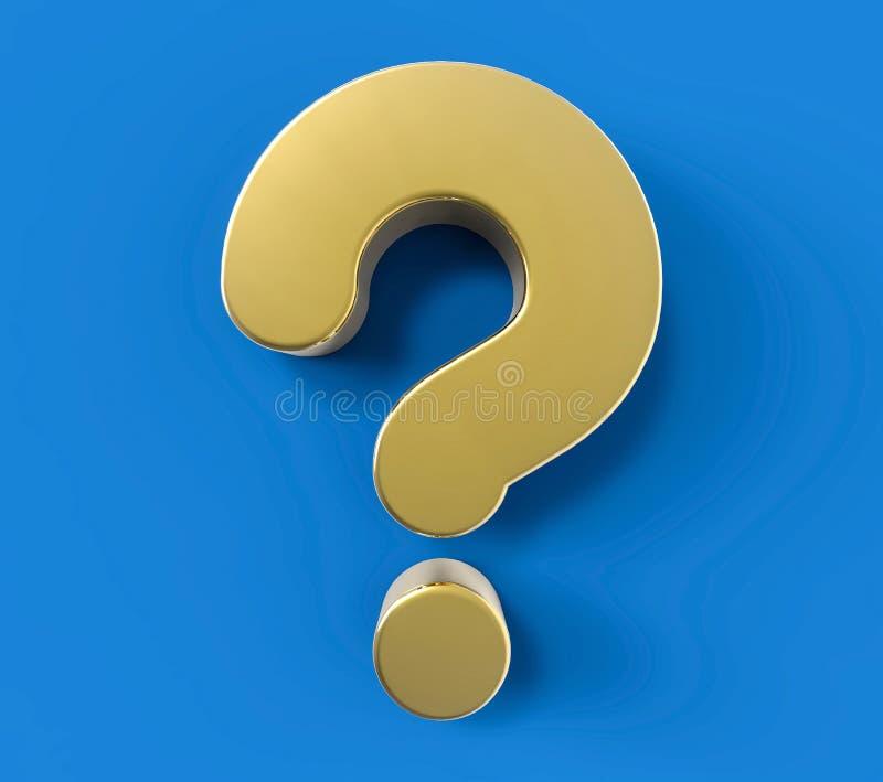 ponto de interrogação dourado isolado 3D Conceito do apoio da solução da dúvida ilustração do vetor