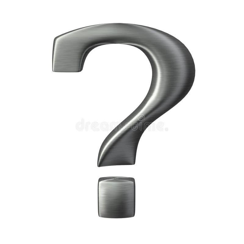 Ponto de interrogação escovado do aço do metal ilustração stock