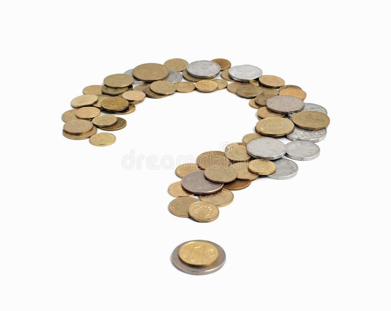 Ponto de interrogação fora das moedas foto de stock royalty free