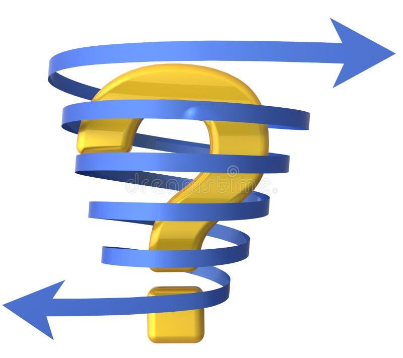 Ponto de interrogação na fita da seta ilustração do vetor