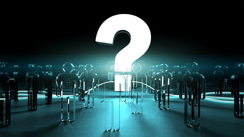 Ponto de interrogação que ilumina uma rendição do grupo de pessoas 3D ilustração do vetor