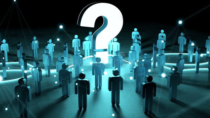 Ponto de interrogação que ilumina uma rendição do grupo de pessoas 3D ilustração royalty free