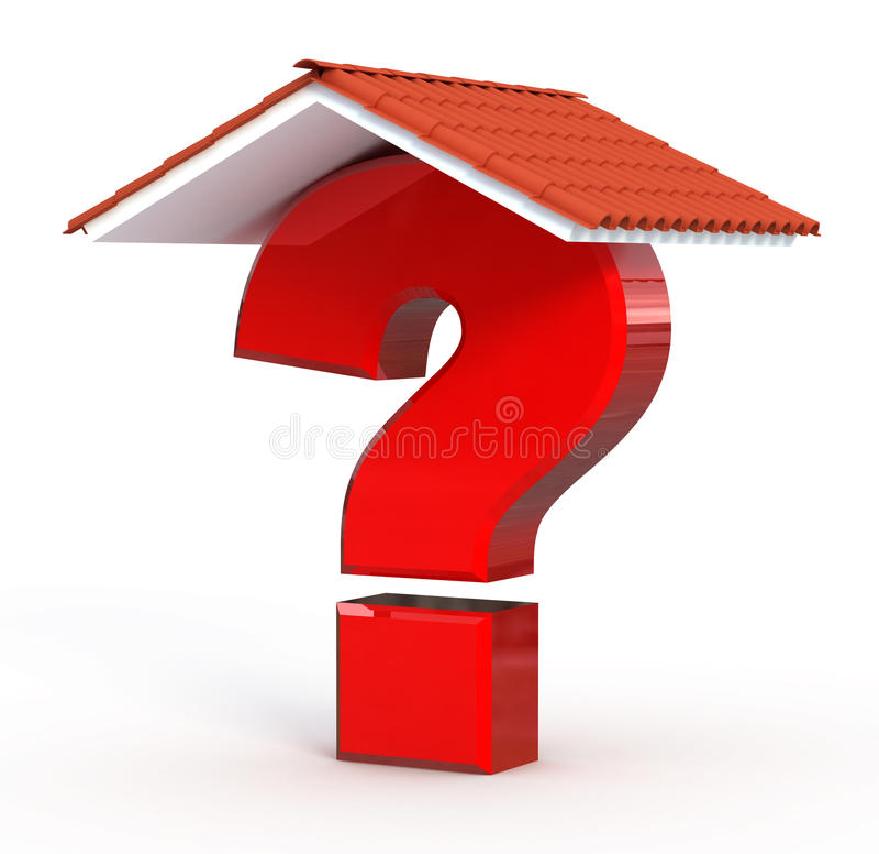Ponto de interrogação vermelho sob o telhado home ilustração royalty free