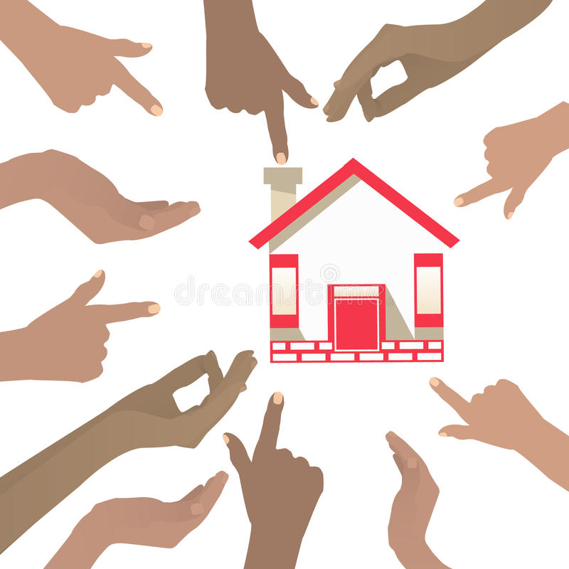 Ponto de muitas mãos à casa Em um fundo branco ilustração do vetor