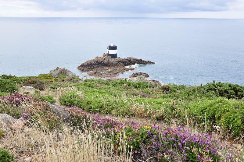 Ponto de Noirmont no jérsei, ilhas channel foto de stock royalty free
