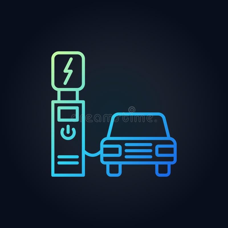 Ponto de recarregamento elétrico com ícone colorido esboço do vetor do carro ilustração do vetor