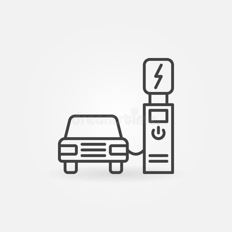 Ponto de recarregamento elétrico com ícone do esboço do vetor do carro ilustração stock