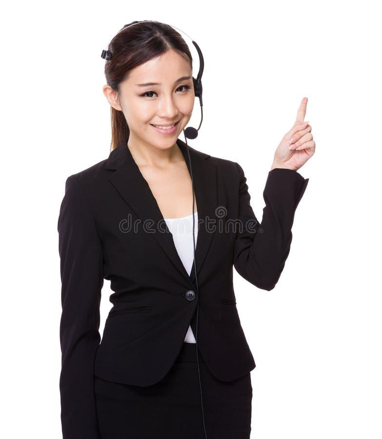 Ponto do agente e do dedo do centro de atendimento acima foto de stock
