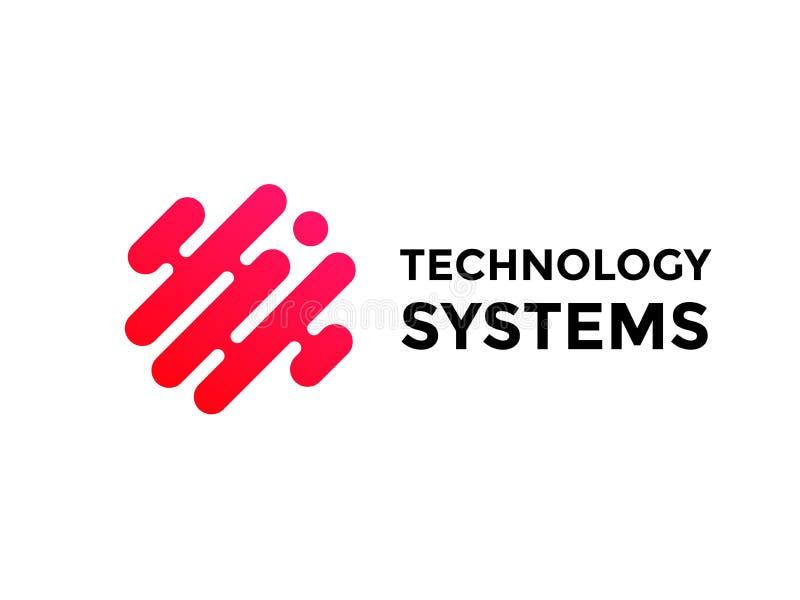 Ponto do fluxo da pirâmide do vetor do triângulo do logotipo da tecnologia ilustração stock