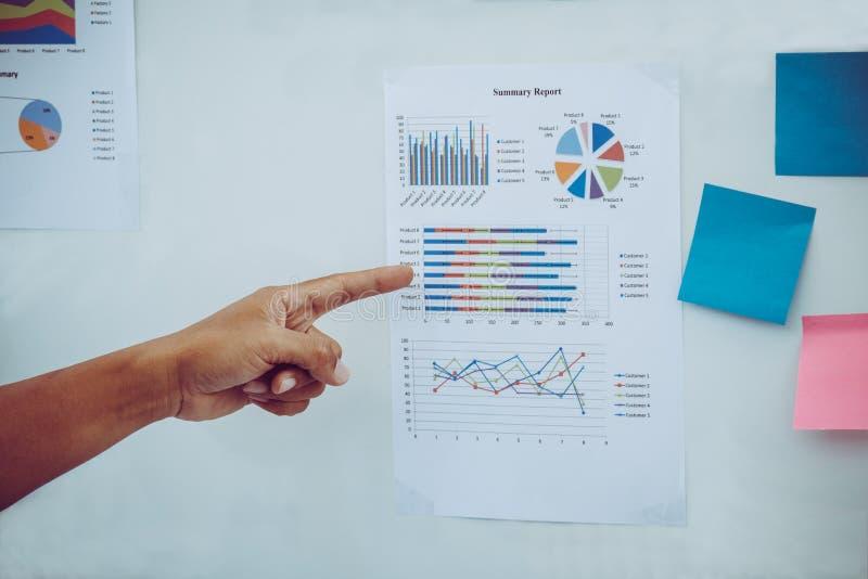 Ponto do gerente ao relatório de venda como o gráfico a bordo para apresentar o resultado fotos de stock