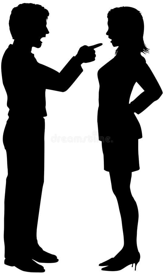 Ponto do grito da mulher do homem no argumento dos pares ilustração stock