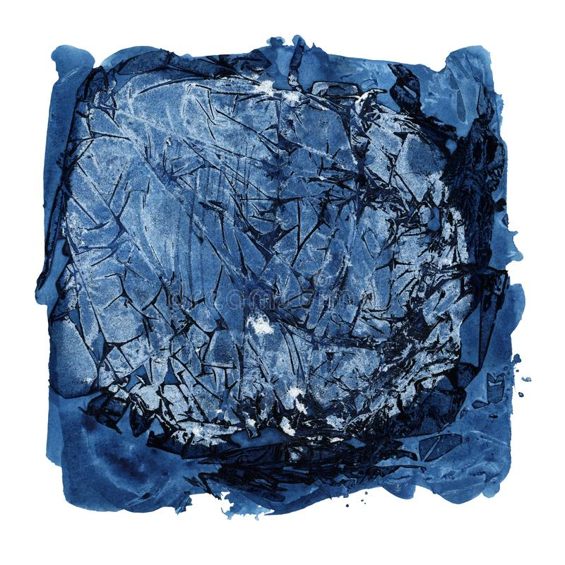 Ponto do Grunge de escuro - cor azul isolado no fundo branco fotografia de stock royalty free