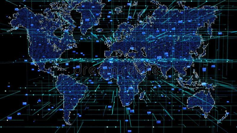 Ponto do mapa do mundo da rede global Fundo social das comunicações Terra Map ilustração royalty free