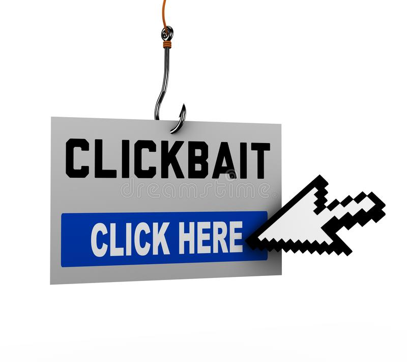 ponto do rato 3d que clica na mensagem do clickbait ilustração do vetor
