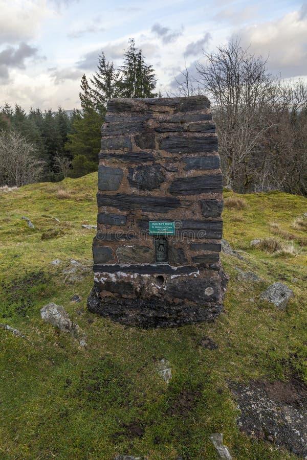 Ponto do Trig na floresta de Gwydyr fotografia de stock