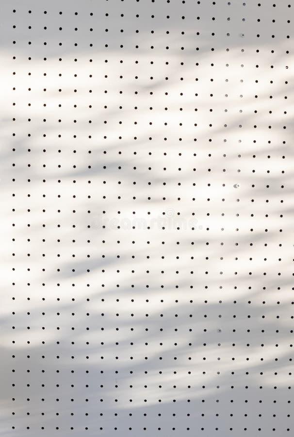 Ponto em ordem ou fileiras e colunas dos furos na parede branca do pegboard com sombra das folhas e da árvore do ramo imagem de stock royalty free