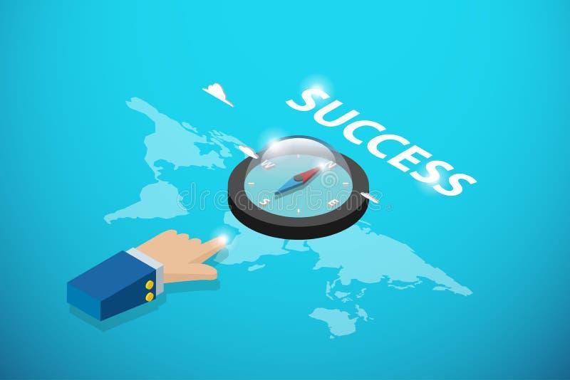 Ponto isométrico da mão do negócio à palavra do compasso e do sucesso, à liderança e ao conceito do negócio ilustração stock