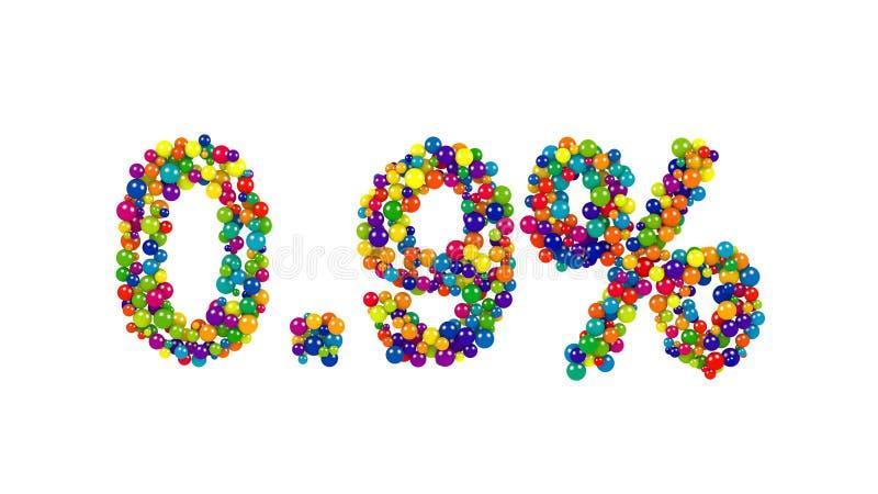 Ponto nove por cento feitos das bolas coloridas ilustração royalty free