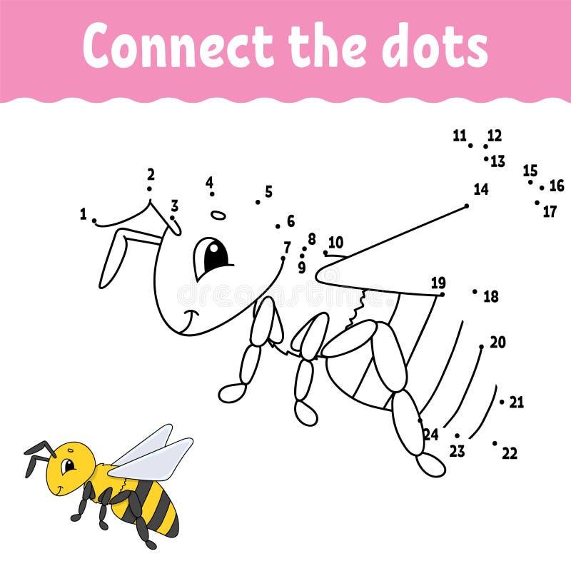 Ponto a pontilhar tire uma linha Prática da escrita Aprendendo números para crianças Folha tornando-se da educação Página da ativ ilustração royalty free