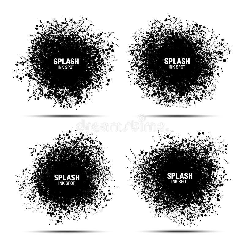 Ponto preto da tinta do respingo ajustado isolado no fundo branco Coleção da textura das gotas O Grunge borra de pontos do respin ilustração do vetor