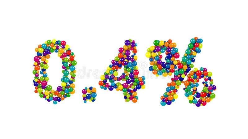 Ponto quatro por cento feitos das esferas coloridas ilustração do vetor
