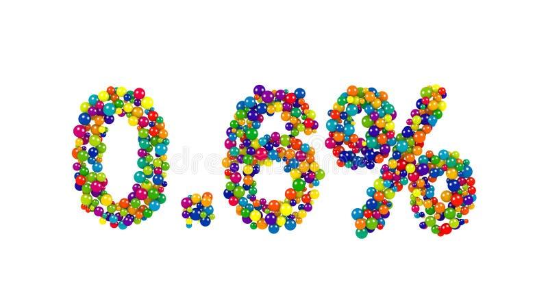 Ponto seis por cento feitos das bolas do colorfull ilustração stock