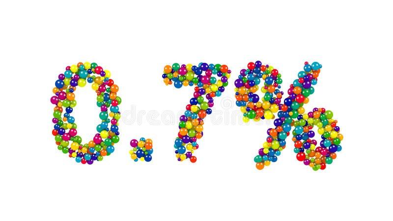Ponto sete por cento feitos das bolas coloridas ilustração royalty free