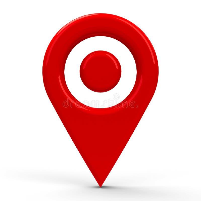 Ponto vermelho do ponteiro do mapa ilustração stock
