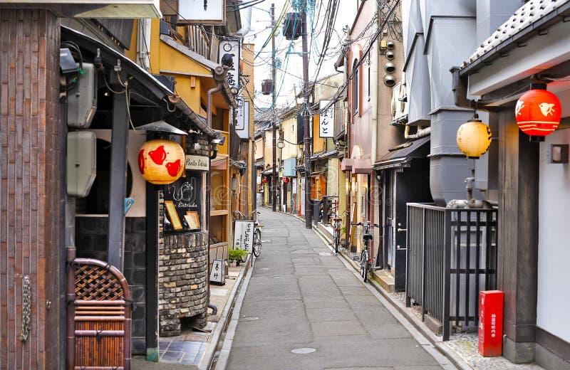 Pontocho街,京都,日本,天 图库摄影