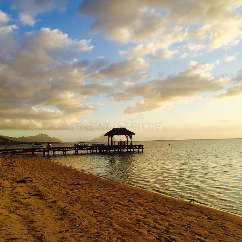Ponton av den Mauritius stranden arkivbilder