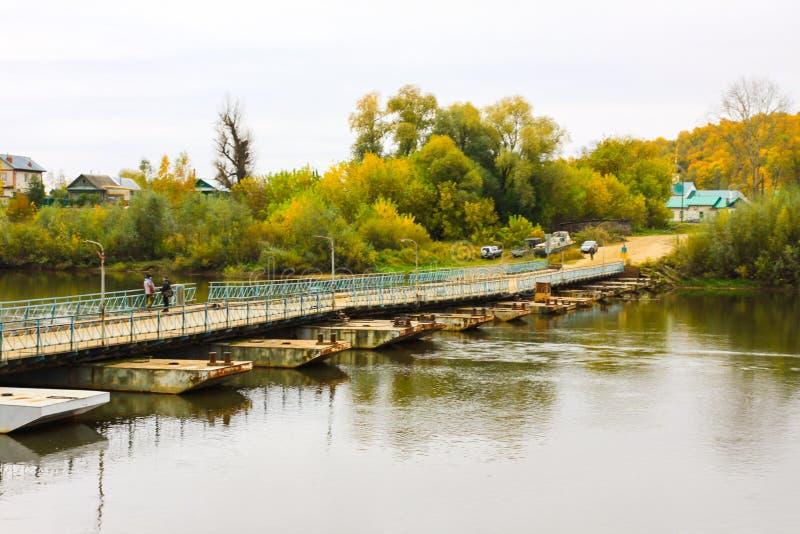 Ponton bridge over the Klyazma River. Gorokhovets. Vladimir oblast, Russia stock image