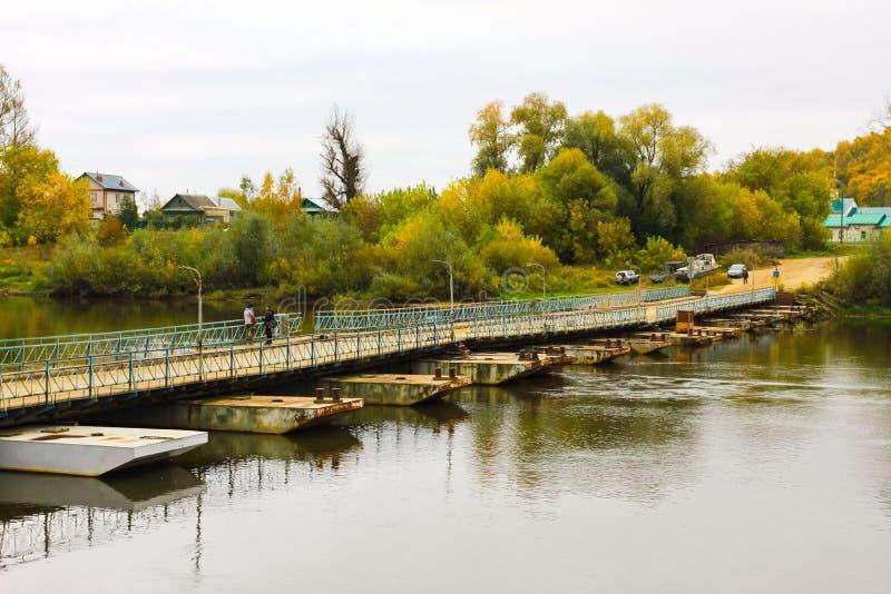 Ponton bridge over the Klyazma River. Gorokhovets. Vladimir oblast, Russia royalty free stock image