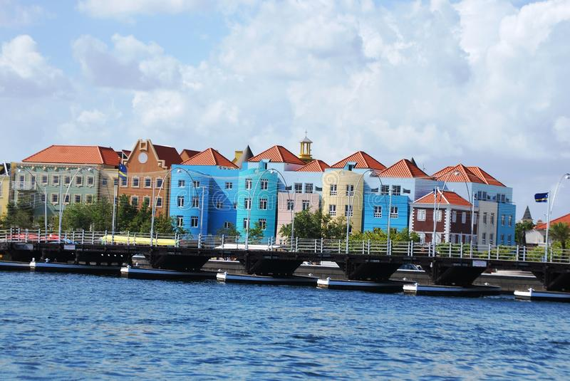 Pontoon bridge in Curacao royalty free stock photography