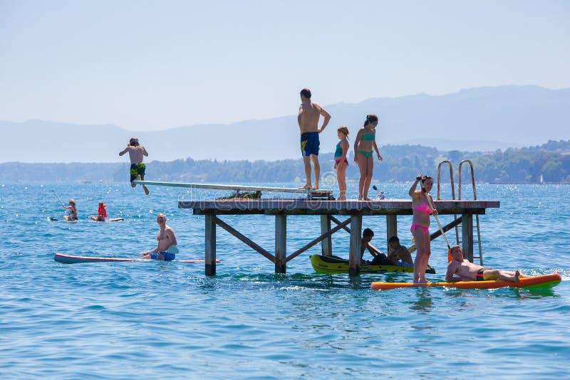 Pontoon bridge lake Geneva stock photos
