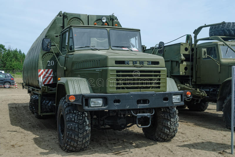 Pontoon equipage PP-91 on the basis of KRAZ. Tyumen, Russia - June 11, 2016: Race of Heroes project on the ground of the highest military and engineering school stock image