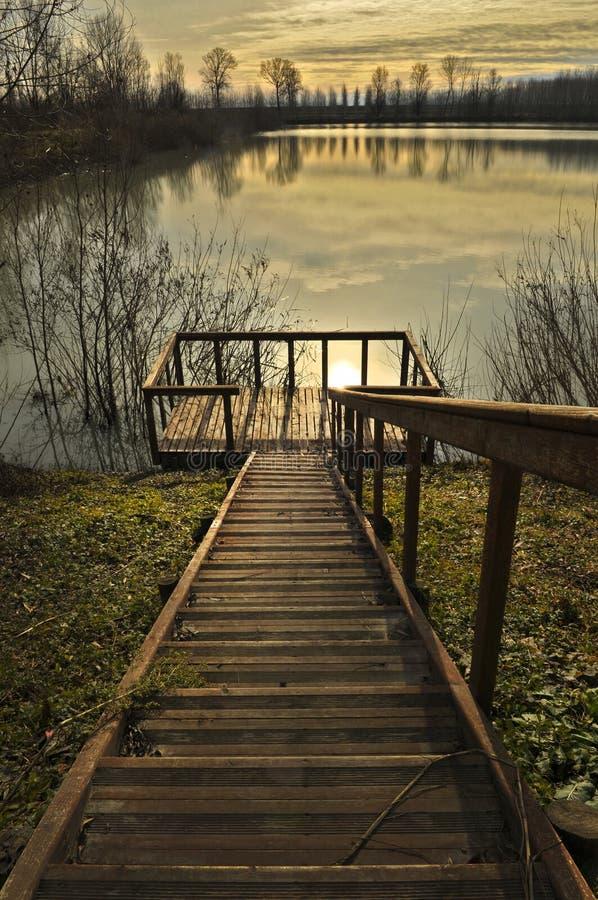 Pontoon on the lake. Fishing pontoon on the lake royalty free stock photography