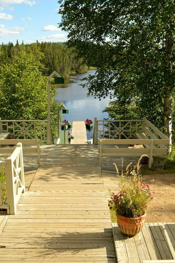 Pontoon on the lake stock photo
