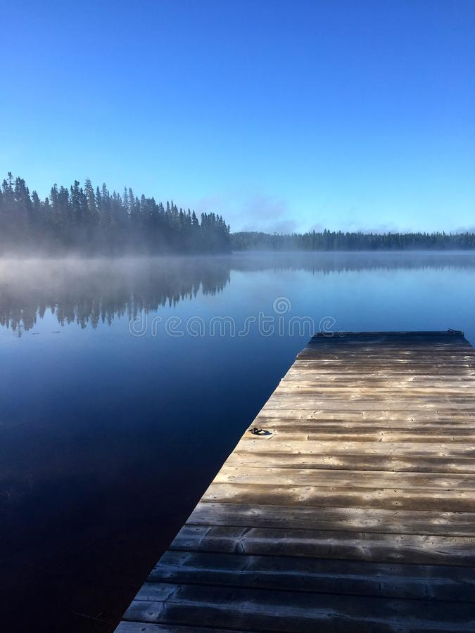 Pontoon in the morning stock photos