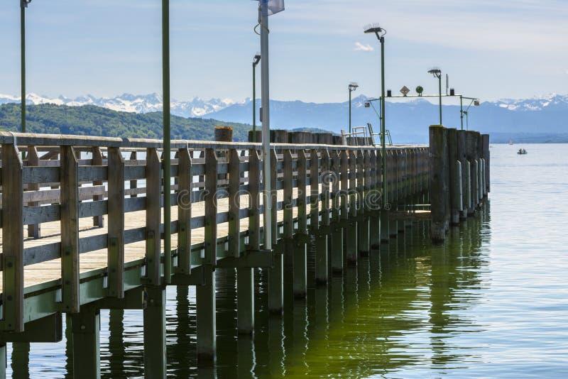 Pontoon on Starnberger lake royalty free stock image