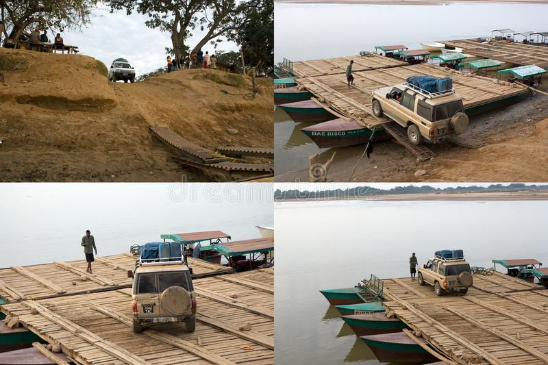 Pontoon on the Tsiribihina river stock images
