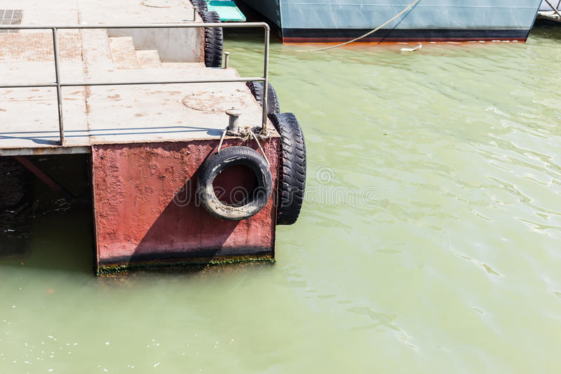 Pontoon with tyres stock photography